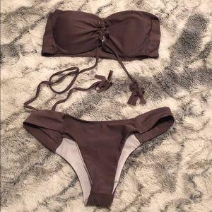 Zaful Purple Lace Up Bandeau Bikini Set